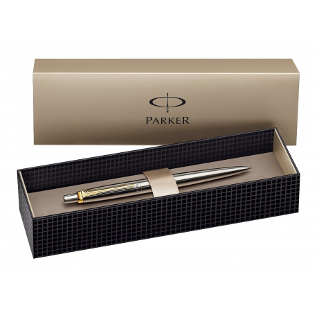 Parker Gold Clip (GT) Stainless Steel Silver Jotter Ballpoint Ball Pen with Gift Box