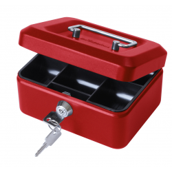 "Cathedral 6"" Key Lockable Petty Cash Box, Small Metal Money Tin Red - CBRD6"