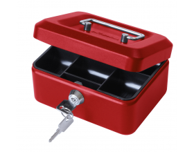 "6"" Key Lockable Storage Security Petty Cash Small Money Box Red"