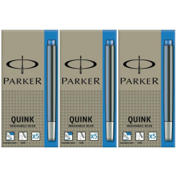 Parker Quink Ink Cartridges - Washable Royal Blue - Pack of 15