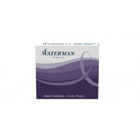 Waterman Ink Cartridges Permanent Purple International Short Size - Pack of 6