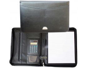 Leather A4 Zipped Conference Portfolio Folder Folio Case