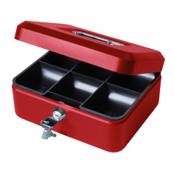 "8"" Petty Cash Box, Lockable Money Box Tin - Red"