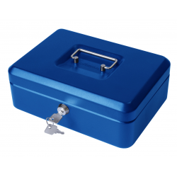 "12"" Large Lockable Secure Money Box, Cash Tin - Blue"