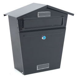 Black Wall Mounted Letterbox Mailbox - Outdoor Lockable Postbox