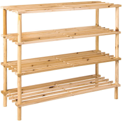 4 Tier Wooden Shoe Rack Vertical Slatted Shelf Storage Unit