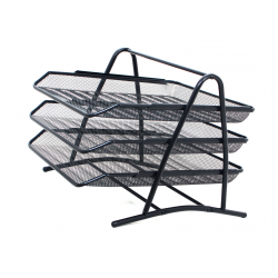 Metal Office Letter Filing Trays Stackable, Desk A4 Paper & Document Organiser - Mesh 3 Tier Wire Holder