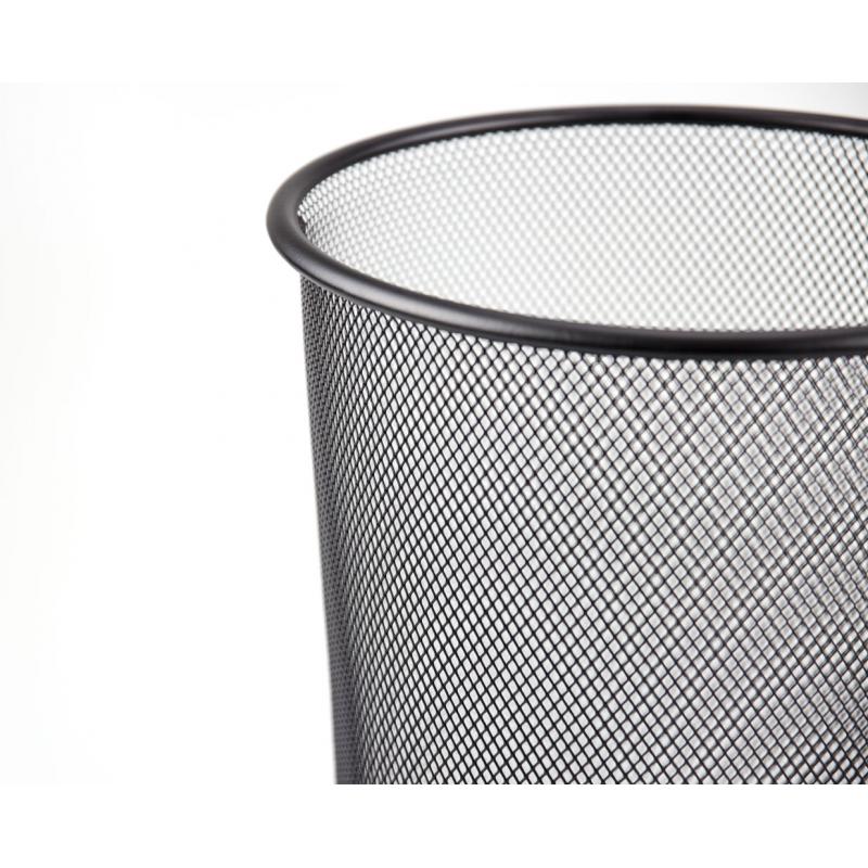 Buy Metal Mesh Waste Paper Bin Rubbish Wire Basket Black for Office ...