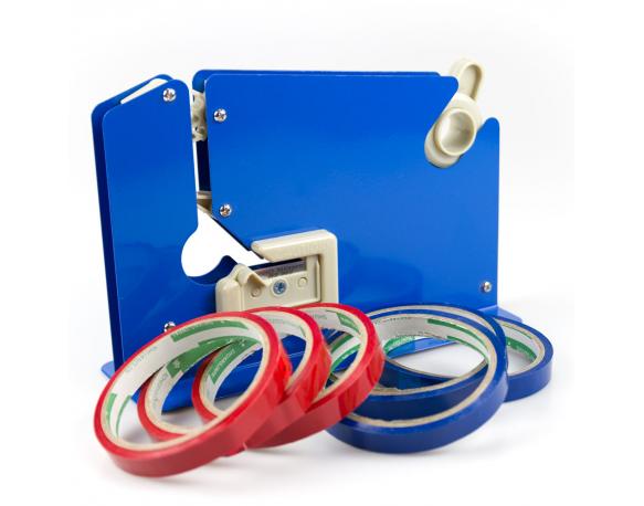 Metal Plastic Bag Neck Sealer Taping Machine Tape Dispenser - Blue with 6 Rolls