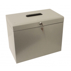 Cathedral A4 Metal File Storage Box with Lock, Silver A4SL