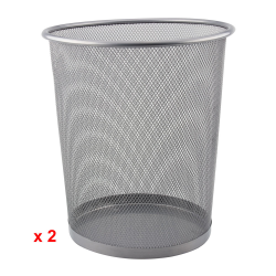 Waste Paper Bin Basket for Office, Bedroom Mesh Metal Pack of 2
